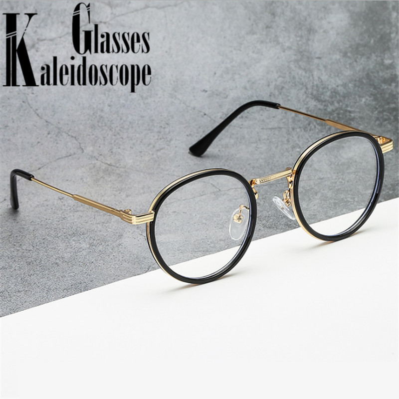 Retro Round Glasses Frame Women Eyeglasses Computer Myopia Optical Anti-blue Light Spectacle Frame Female