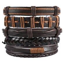 Мужской плетеный кожаный браслет в стиле ретро модный многослойный