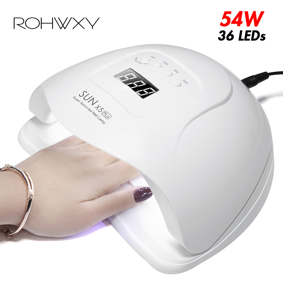 ROHWXY SUN 5X Plus UV LED Lamp For Nails Dryer 54W/48W/36W Ice Lamp For Manicure Gel Nail Lamp Drying Lamp For Gel Varnish