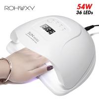 ROHWXY SUN 5X Plus UV LED lampa do paznokci suszarka 54 W/48 W/36 W Ice lampa do żel do manicure lampa do paznokci suszarka do lakieru żelowego