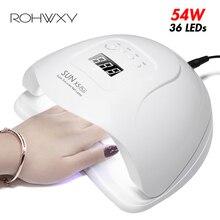 Rohwxy Zon 5X Plus Uv Led Lamp Voor Nagels Droger 54W/48W/36W Ijs Lamp voor Manicure Gel Nail Lamp Drogen Lamp Voor Gel Vernis