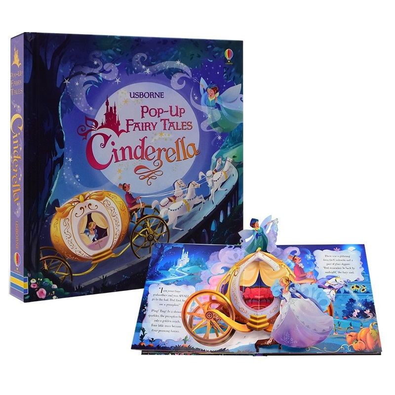 POP UP Fairy Tale Cinderella English Educational 3D Flap Picture Books Children Kids Reading Book
