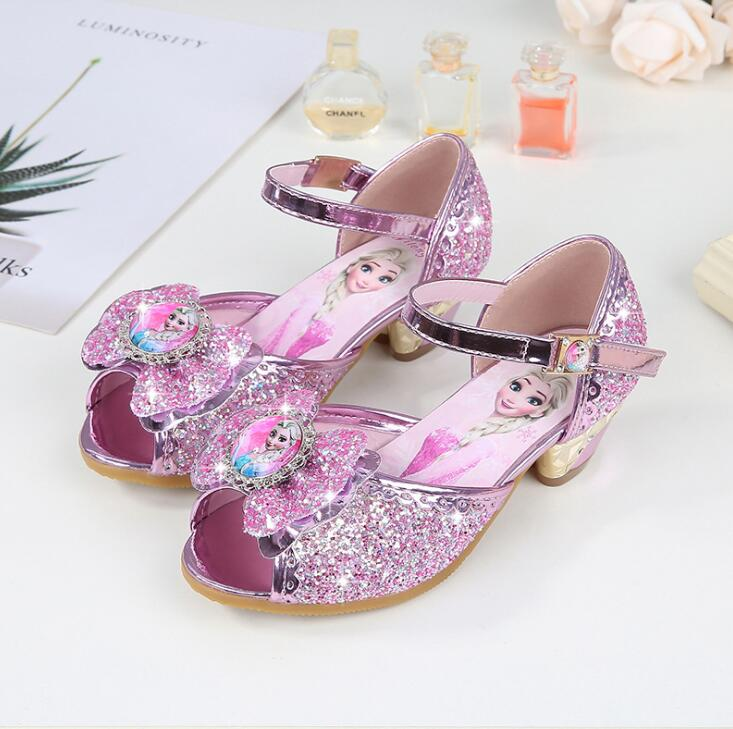 Children Sandals Princess Party Shoes Elsa Sandal For Girls Glitter Wedding Girl Sandals Crystal High Heel Snow Blue Shoes