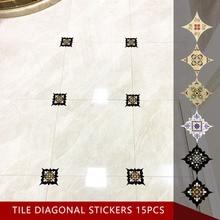 15PCS 8x8cm Tile Diagonal Stickers Floor Decoration Waterproof And Wear-resistant Self-adhesive Q