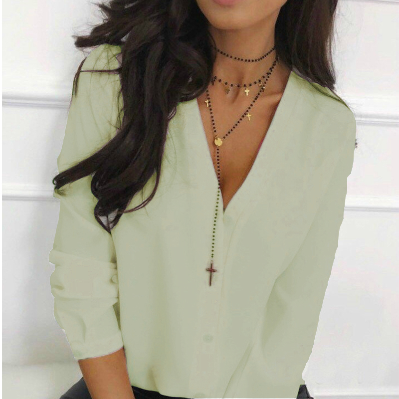 2019 Autumn Office Lady Front Button Women Tops and   Blouses   Long Sleeve Sexy V neck Soild   Shirt   Ladies New Fashion Women Tops