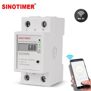 Cyfrowe zużycie energii kWh na szynę Din kompaktowy licznik energii WiFi miernik mocy Watt zdalny przełącznik sterujący Monitor 110V 220V AC tanie i dobre opinie SINOTIMER Elektryczne 220 v 50A-79A 79*66*36mm WDS688 90-250V Jednofazowy -10 to 50 C 99999 99 Tuya or Smart Life APP 90-250V AC 50 60Hz