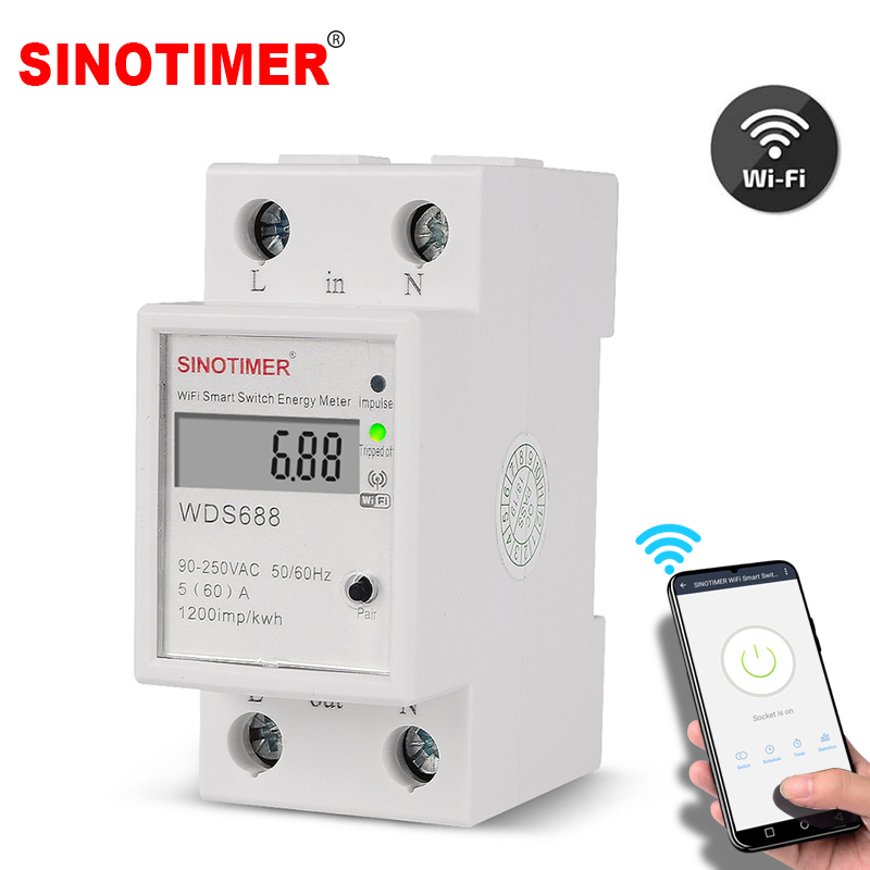 Digital Electric Consumption KWh Din Rail Smart Energy Meter WiFi Power Meter Watt Remote Switch Control Monitor 110V 220V AC