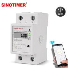 Medidor de energia elétrico digital kwh, medidor de energia inteligente wifi, medidor de energia, interruptor remoto de w, monitor de controle, 110v, 220v ac