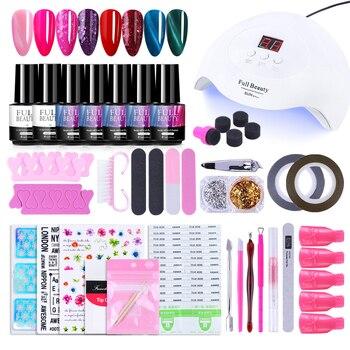 30W UV lámpara Nail Art Set Kits de Gel barniz oro plata copos revestimiento cinta pegatinas manicura herramientas removedor conjunto de esmalte de uñas JI1574