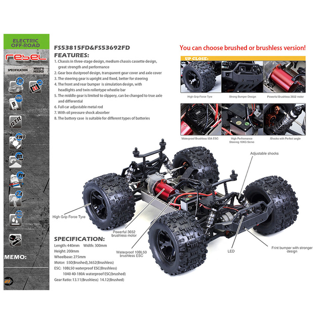 FS Racing 1:10 Bigfoot Car 4WD High Speed Brushless Remote Control Car with Body ESC Motor 2.4G Remote Control - RTR Version 3
