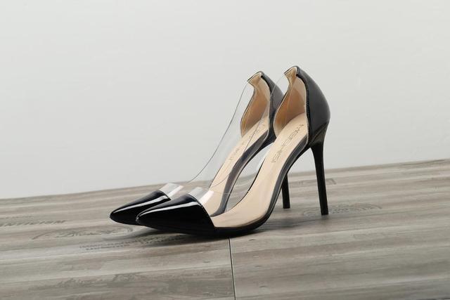 GENSHUO Women Pumps Transparent Thin High Heels 8