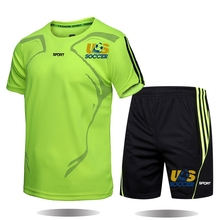 Summer 2021 Football Brand Men s Sets Round Neck   And Quick Drying Sportswear Men s  Leisure T Shirt Suit 2 Piece Set 7 Sizes