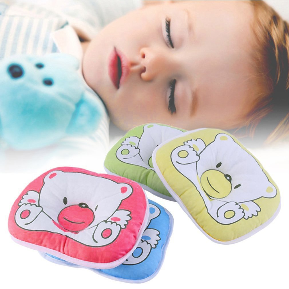 Newborn Infant Baby Bear Pattern Pillow Sleeping Support Prevent Flat Head Cushion Plush Animal Shape Cute Soft Pillow