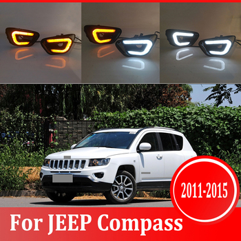 2pcs For JEEP Compass  2011-2015 LED Daytime Driving Running Light DRL Car Fog Lamp 6000K White Light Turn Yellow Light