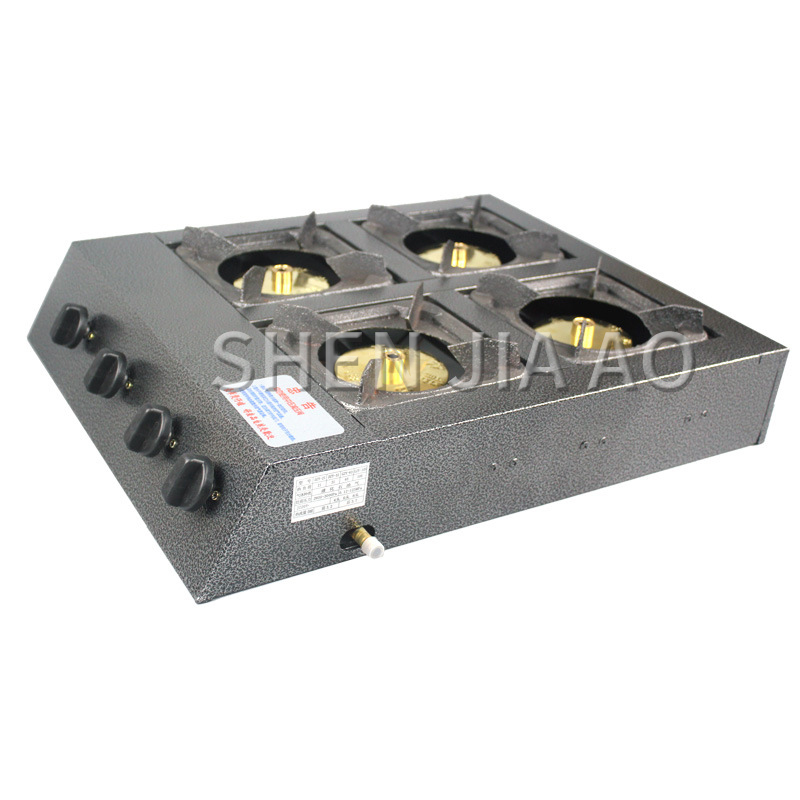 Natural/ Liquefied GasCommercial Gas Stove Multi-head Gas Stove Four-holes Energy-saving Stove Fierce Fire Kitchen Stove 1PC