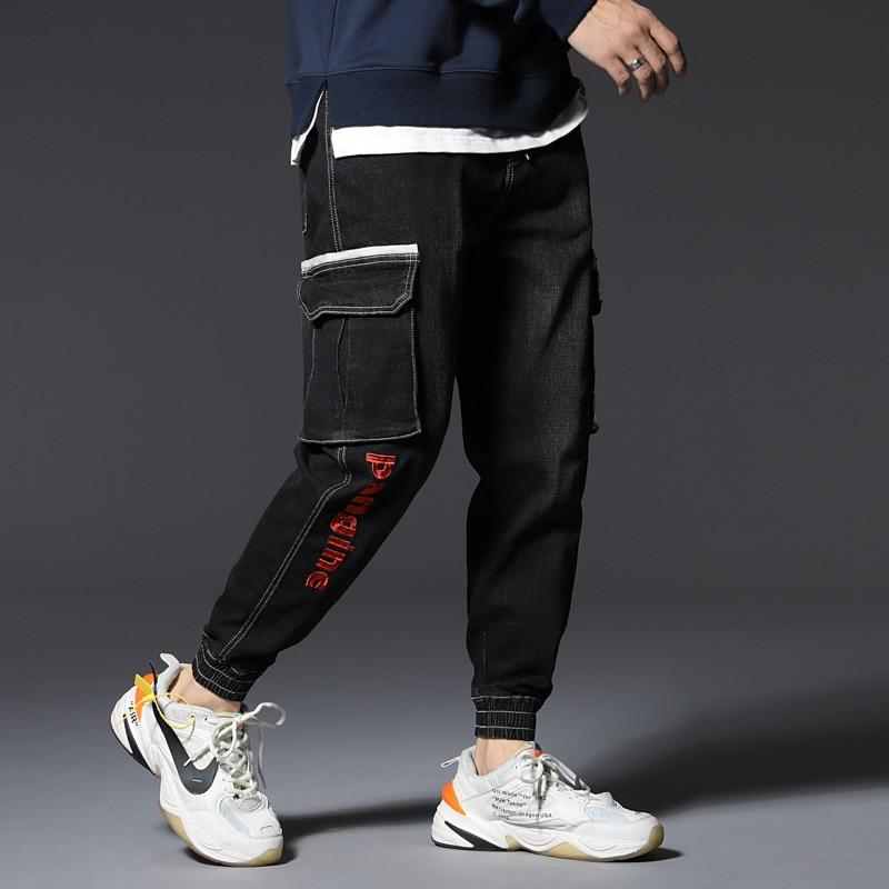Fashion Streetwear Men Jeans Loose Big Size L-7XL Harem Jeans Big Pocket Cargo Pants Embroidery Elastic Hip Hop Jogger Jeans Men