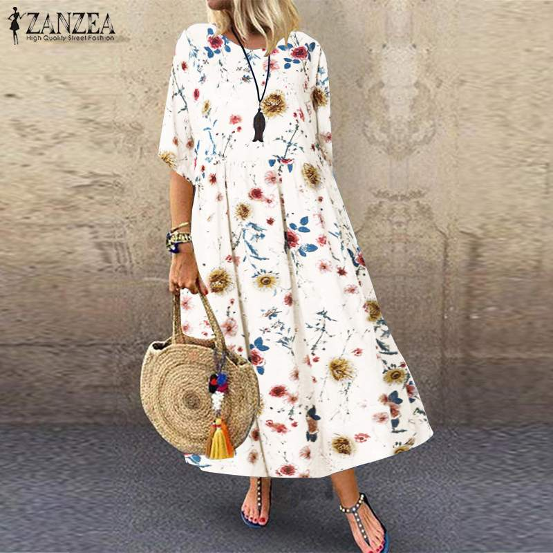 ZANZEA Women Dress Long Maxi Holiday Vestidos Party Printed Bohemian Plus-Size Casual title=