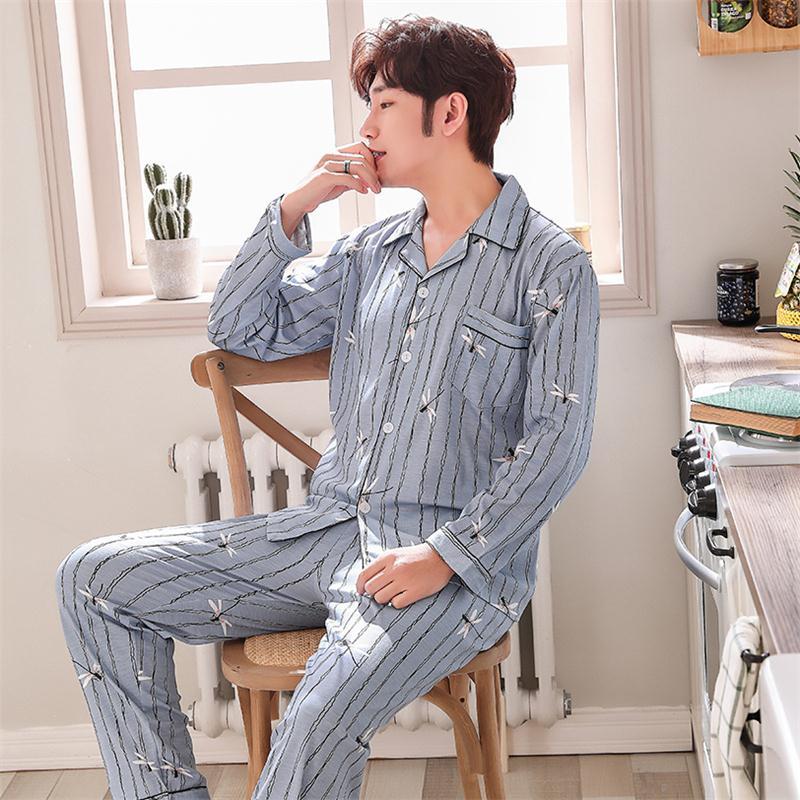 Men's Pajamas Long Sleeve Cotton Spring And Autumn Cardigan Pajamas Men's Elegant Plus Size Household Suit Men's Youth