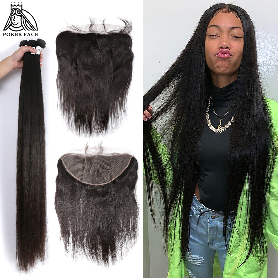 Poker Face 8-28 30 40 Inch Peruvian Hair Weave 3 4 Bundles With 13x4 Lace Frontal And Closure Remy Straight Human Hair Extension