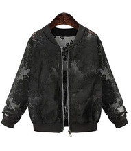 Autumn Basic Hollow Coats women Lace Solid Embroidered jacket femme Bomber Jacket Outwear