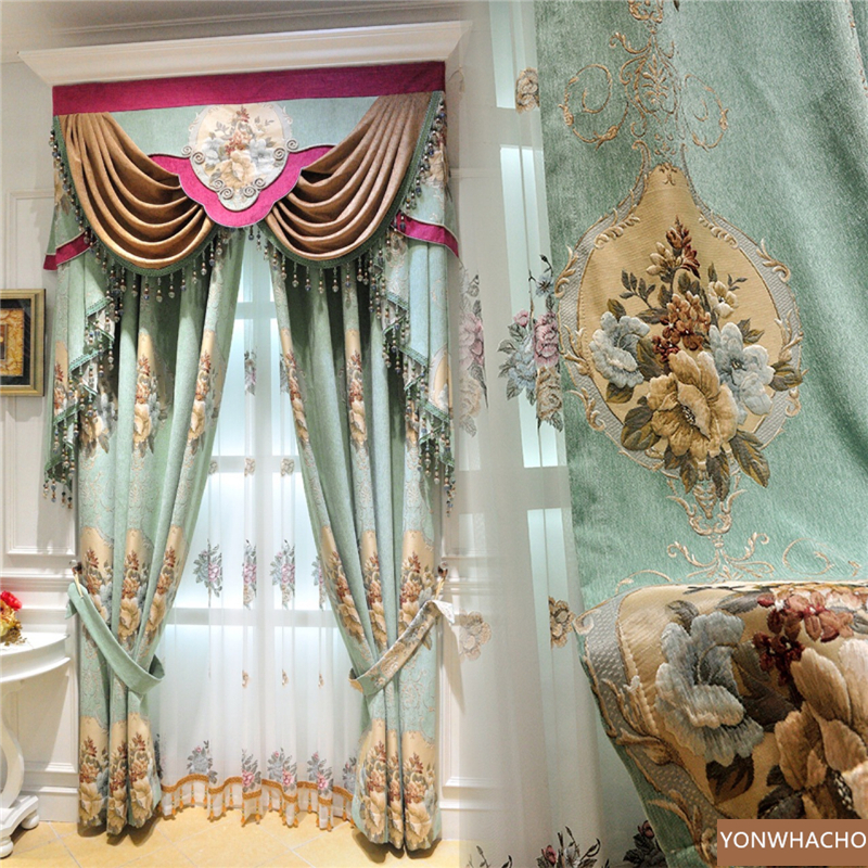 Custom curtains Chenille embossed jacquard European living room thick green cloth blackout curtain tulle valance drape B811
