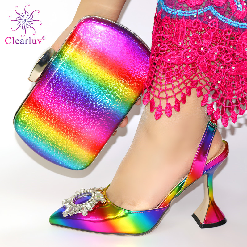 Italy Designer Luxury Wedding Decorated With Rhinestone African Nigeria Elegant Summer Woman Pumps Shoes And Bags Set