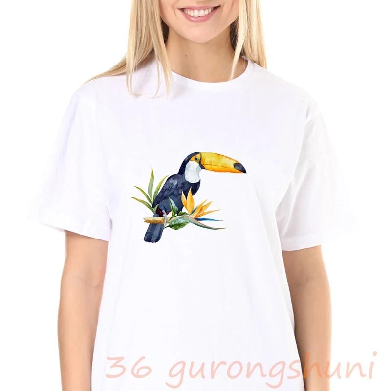 TEE00190CT Animal t-shirts  Cute T-Shirts  Women Fashion Parrot Print Shirt\u00a0 Parrot Graphic Tee
