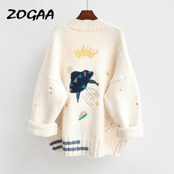 ZOGAA 2019 Autumn Winter Women Sweater Cardigans Cartoon Embroidery Poncho Single Breasted Knit Harajuku Top