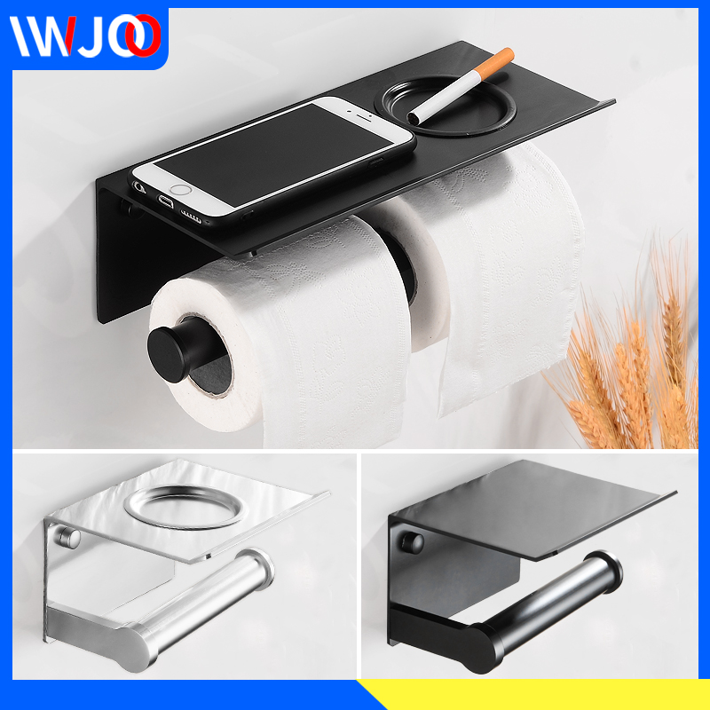 Toilet Paper Holder Black With Shelf Aluminum Bathroom Paper Towel Holder Wall Mounted Metal Roll Paper Holder Ashtray Cover