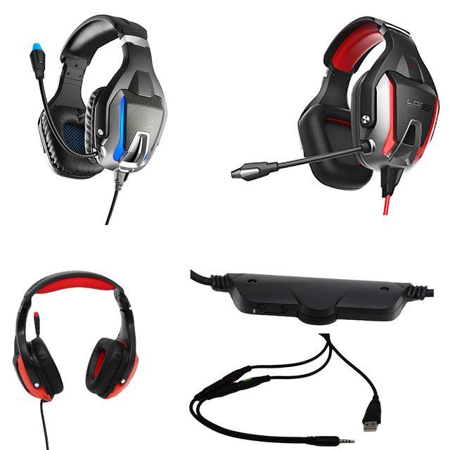 Gaming headset with microphone Professional Noise Cancelling  LED light for PC,PS4,loptop wire headphone earphone