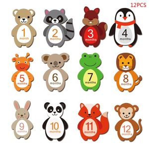 12PCS 1-12 Months Baby Monthly Milestone Sticker Baby Photography Props Photo Stickers 19QF