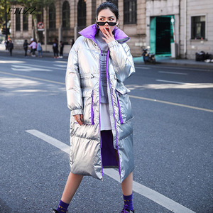 Image 1 - Ftlzz 新冬のジャケットの女性白アヒルダウンパーカー女性スタンド襟厚くコートシルバー黒雪ダウン生き抜く
