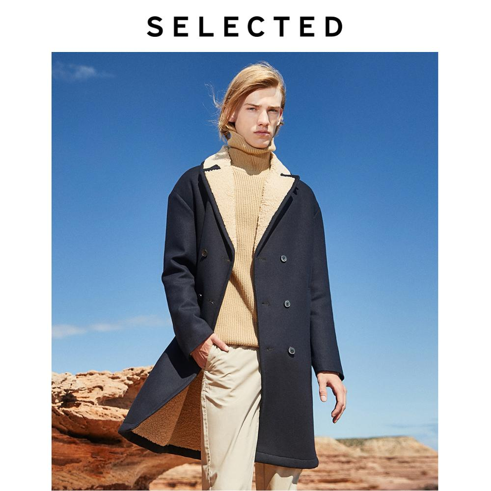 SELECTED Men's Sheep Wool Coat Long Blend Lapel Overcoat Winter Jacket S | 419327510