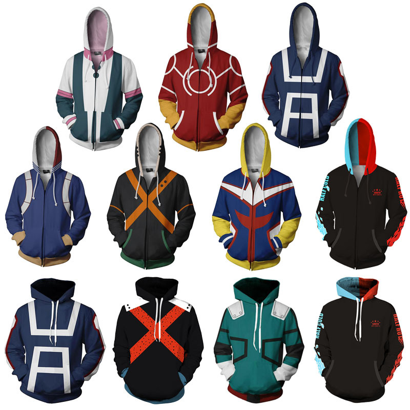 Bakugou Katsuki School Uniforms Cosplay Costume My Hero Academia Hoodies 3D Printed Zip-up Hoodies For Men Women Sport Sweater