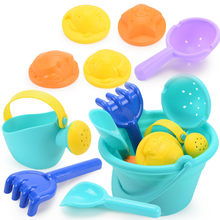 Summer Plastic Soft Baby Beach Toys Kids Mesh Bag Bath Play Set Beach Party Cart Ducks Bucket Sand Molds Tool Water Game(China)