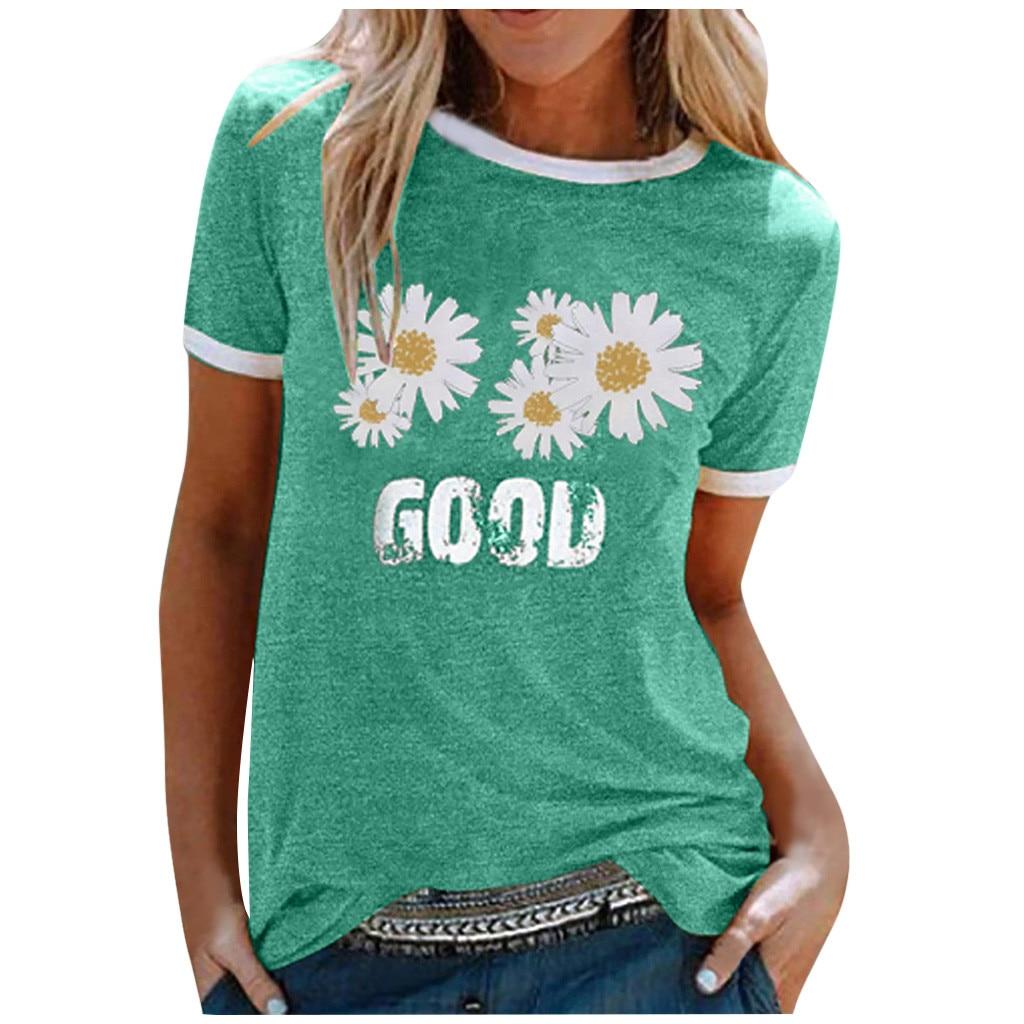 Harajuku T-Shirt Women Daisy Flower Print T Shirts Summer Top Tee O-Neck Short Sleeve Patchwork Tshirts Plus Size Streetwear