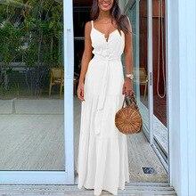 V Neck Button White Beach Dress Belt High Waist Casual Vintage Vestidos Summer W