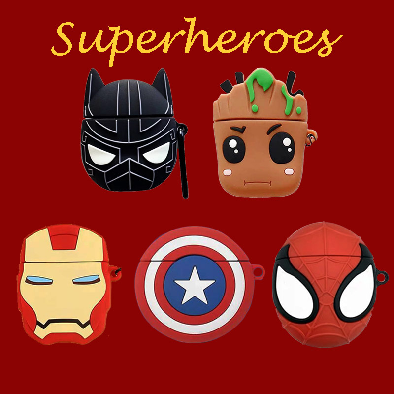 Designer V Case For Airpods Superheros Silicone  Protection Cute For Airpod Case For Apple Bluetooth Cover Earphone Cases 3D
