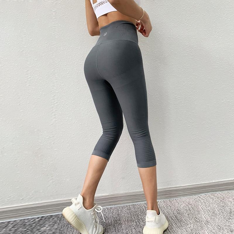 Black High Waist Sports Leggings Women Yoga Pants Quick Dry Capris 3/4 Running Trouser Female Crop Gym Leggings Fitness Tights