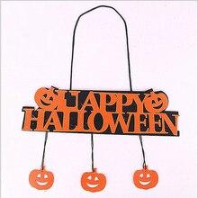 Halloween Decoration Happy Hanging Pumpkin Hangtag for Window Door Home 1PC