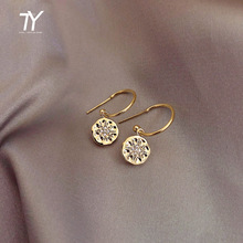 2020 New Retro star star, round piece, water drop earrings fashion, Korean women's jewelry, Simple ladies trendy sexy Earrings