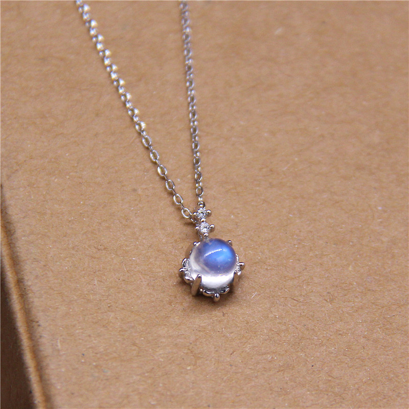 Blue Moonstone Pendant S925 Pure Silver Necklace Hollow Flower Shaped Flash Cz Clavicle Chain Necklaces For Women Fine Jewelry