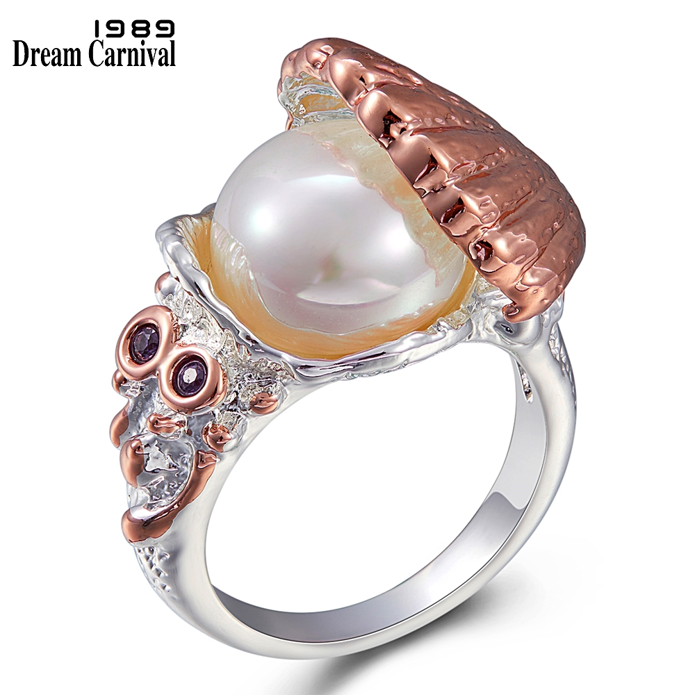 WA11773 DreamCarnival 1989 New Arrived Women Wedding Ring Pearl Inside Shell Rose Gold Silver Color CZ Fashion Jewelry Must Have (1)
