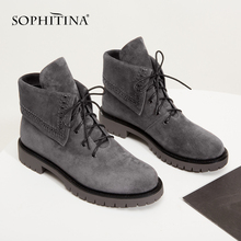 Women Boots SOPHITINA Heel-Shoes Low-Heel Winter Lace-Up Solid Basic MC423 Outside-3cm