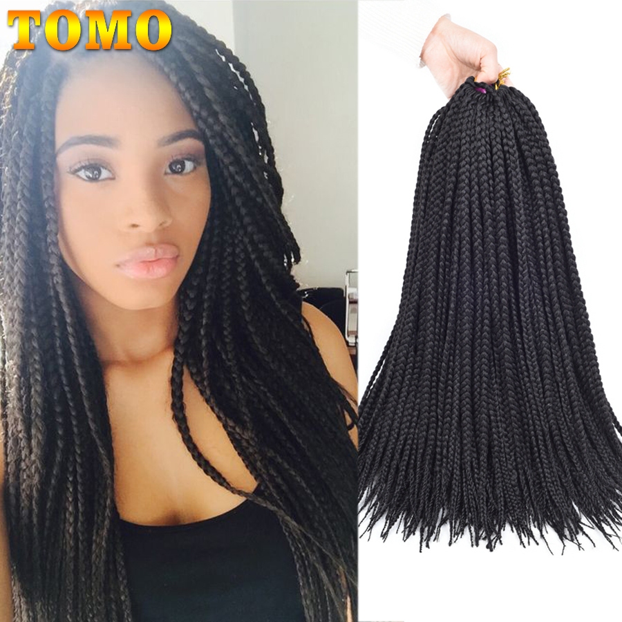 TOMO 14 18 22'' Medium Box Braid Crochet Hair Extensions Synthetic Crochet Braids 22Roots/Pack Soft Braiding 8Packs