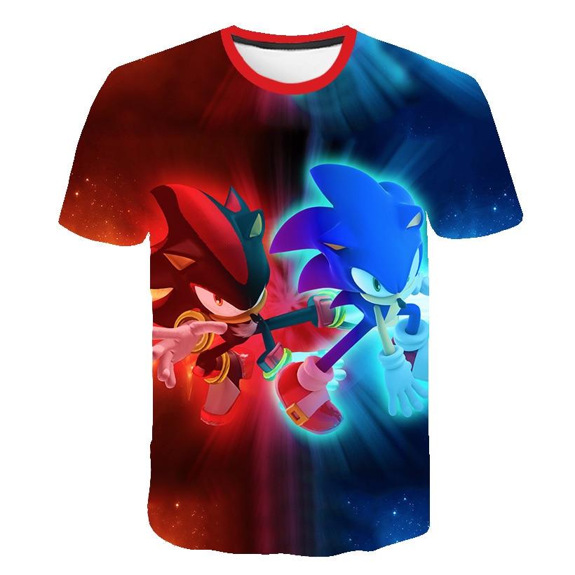 2020 Cute 3D Cartoon T Shirt Kids Clothes Summer Short Printed Sonic The Hedgehog T-shirt Boys Streetwear Teenager Children Tops