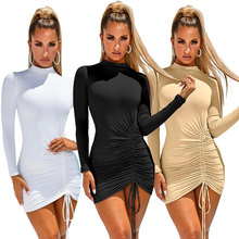 цены New 2019 Winter Solid Dress Women Sexy Night Club Turtleneck Warm Bodycon Mini Dress White Pencil Bandage Party Dresses Vestidos