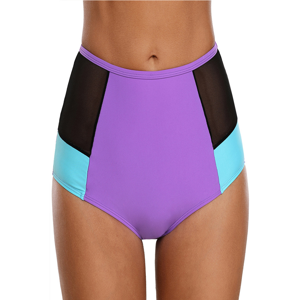 Beach-Grid Joint Triangular Swimming Trunks Europe And America Ladies Bikini Hot Springs One-Piece High-Waist Pants 410703