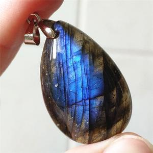 Image 3 - Подвеска из натурального Лабрадорита, синий светильник, Женский драгоценный камень, для женщин и мужчин, водный лунный камень, 33x20x9 мм, Кристальное ожерелье, подвеска AAAAA