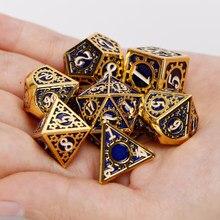 Dungeon & dragon dnd conjuntos de dados d & d e d rpg mtg polyhedral 20 face azul engrenagem metal conjunto de dados 7 peças d20 d12 d10 d8 d6 d4